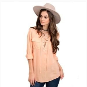 Honey Punch Peach Lace Up Long Sleeve Blouse NWT